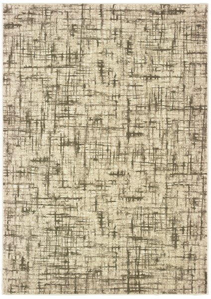 Ivory, Brown (J3) Contemporary / Modern Area Rug