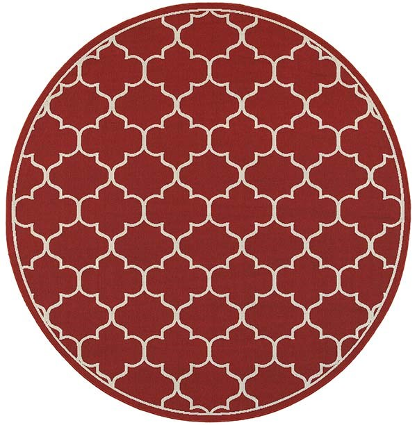 Red, Ivory Moroccan Area Rug