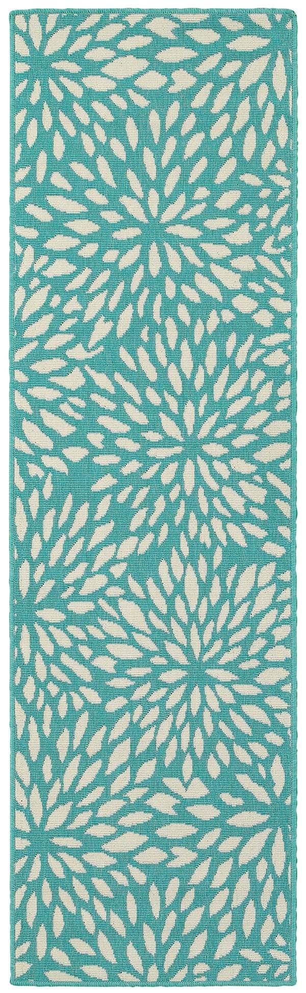 Blue, Ivory Floral / Botanical Area Rug