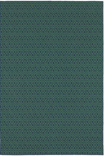 Navy, Green Contemporary / Modern Area Rug