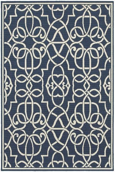 Navy, Ivory Contemporary / Modern Area Rug