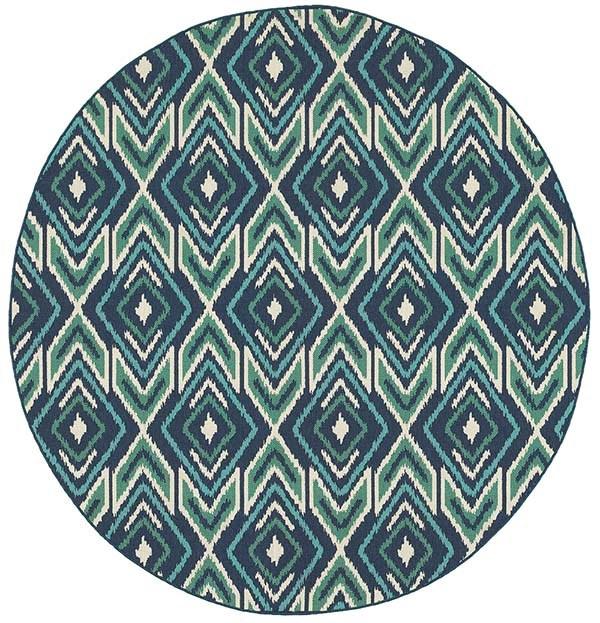 Navy, Green Moroccan Area Rug