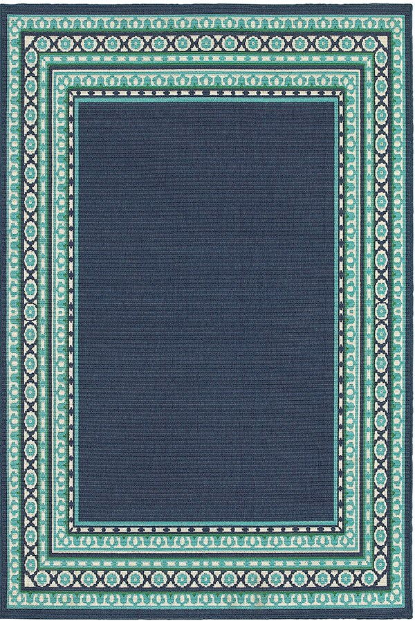 Navy, Green Bordered Area Rug
