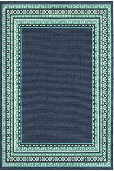 Navy, Green Contemporary / Modern Area Rug
