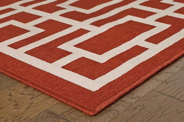 Red, Ivory Transitional Area Rug