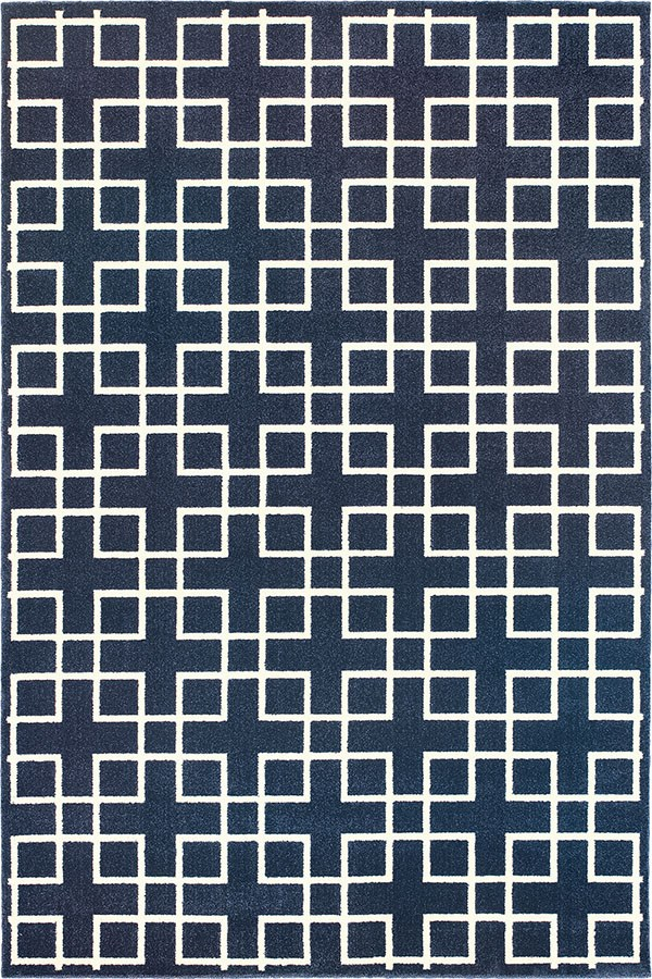 Navy, Ivory (6140B) Transitional Area Rug