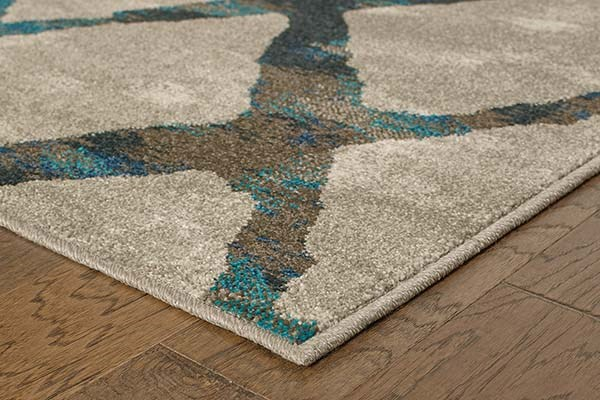 Grey, Blue Transitional Area Rug