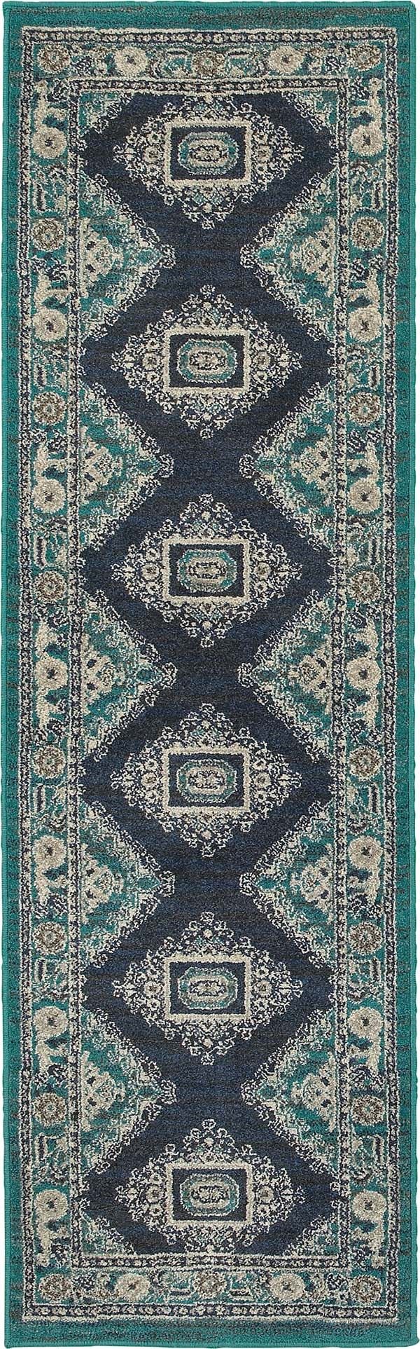 Blue, Ivory (A) Southwestern / Lodge Area Rug