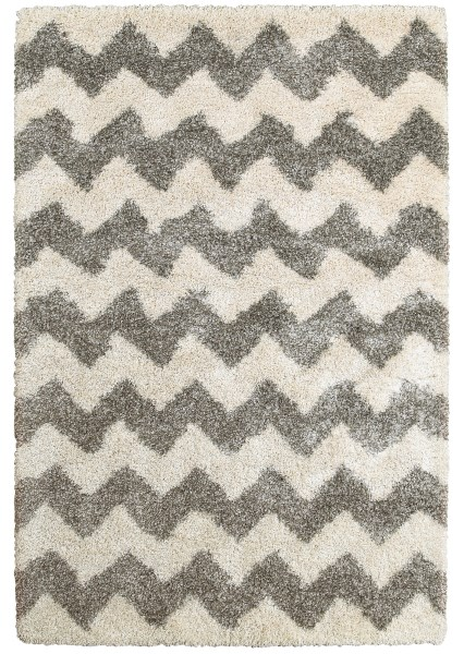 Grey, Ivory Shag Area Rug