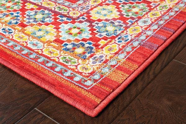 Red, Yellow Traditional / Oriental Area Rug