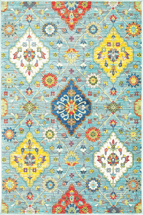 Blue, Yellow (L) Traditional / Oriental Area Rug