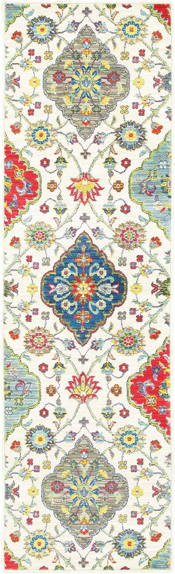 Ivory, Red (W) Traditional / Oriental Area Rug