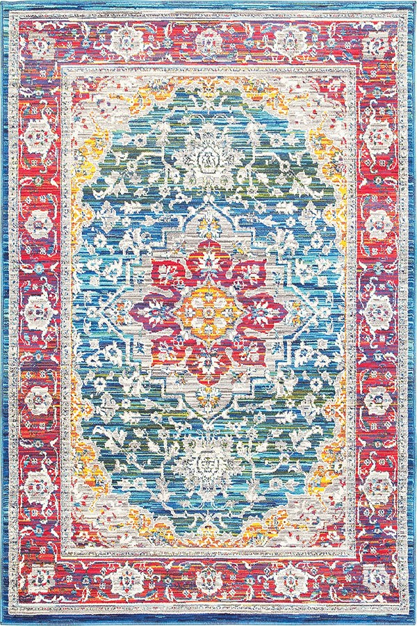 Red, Blue, Yellow Traditional / Oriental Area Rug