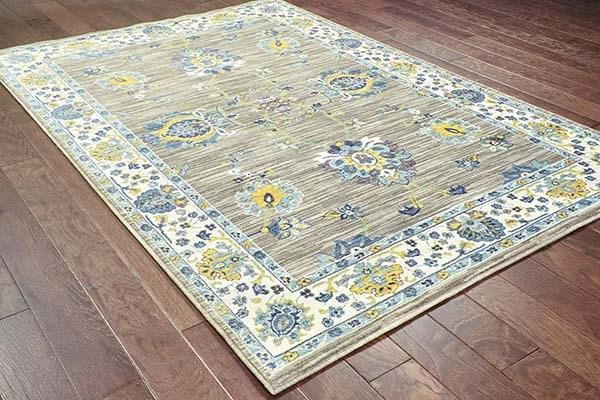 Grey, Yellow Traditional / Oriental Area Rug