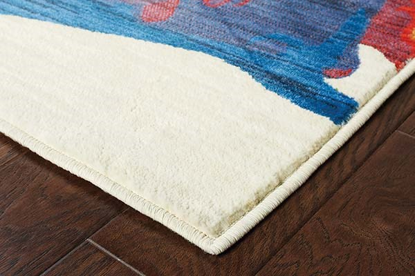 Ivory, Red, Blue, Yellow Abstract Area Rug