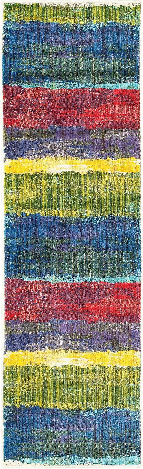 Blue, Red, Green, Yellow Abstract Area Rug