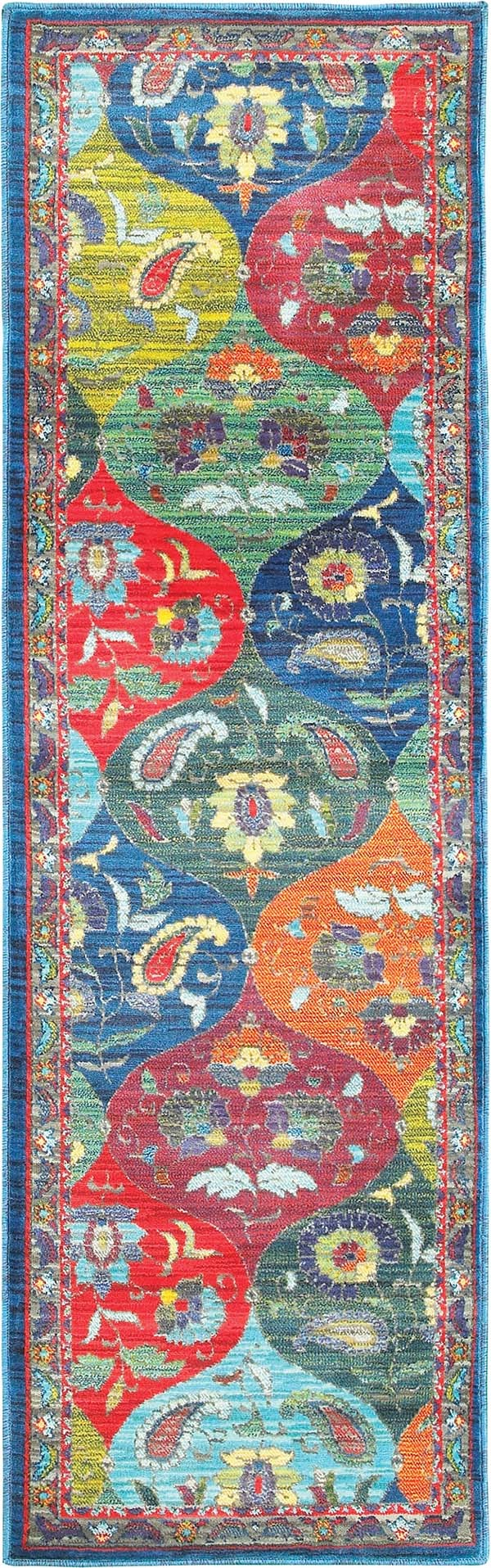 Blue, Orange, Green Traditional / Oriental Area Rug