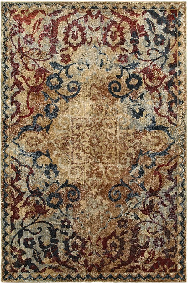 Gold, Red Transitional Area Rug