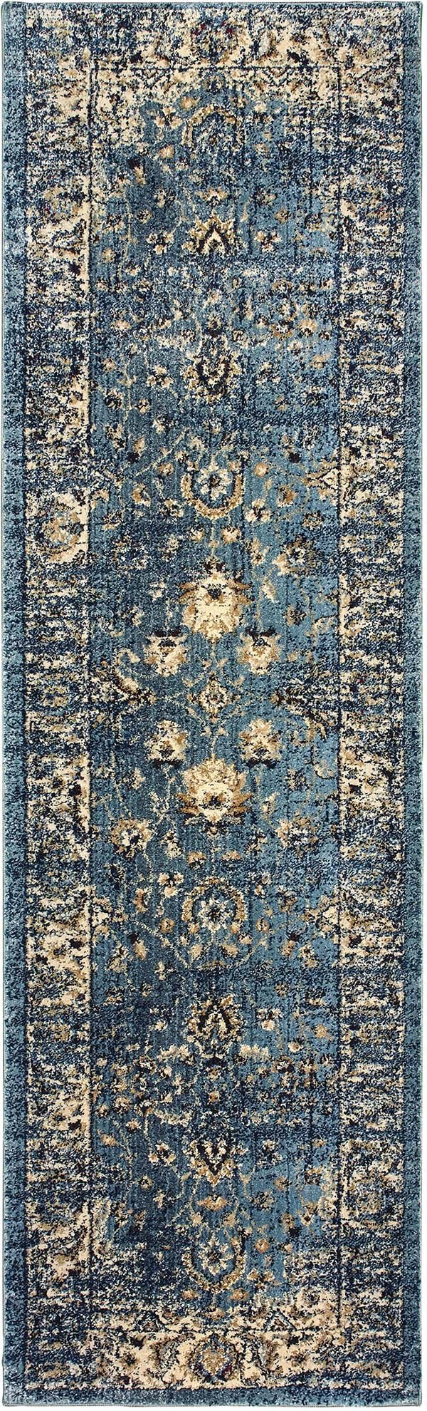 Blue, Ivory (L) Traditional / Oriental Area Rug