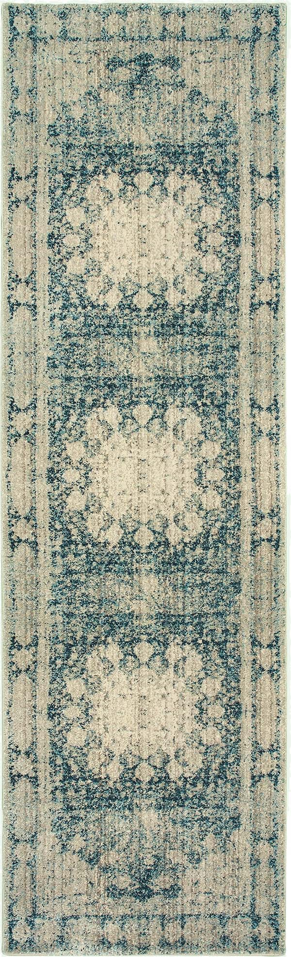 Ivory, Blue Traditional / Oriental Area Rug