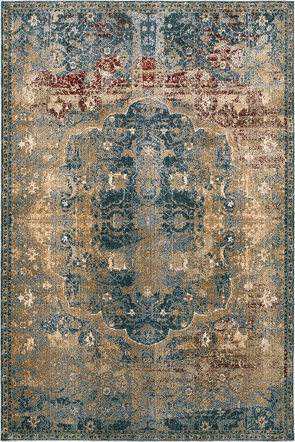 Gold, Blue Traditional / Oriental Area Rug
