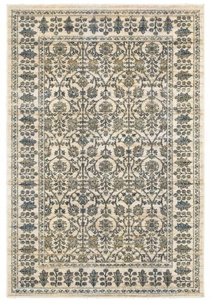 Ivory, Blue (U) Traditional / Oriental Area Rug