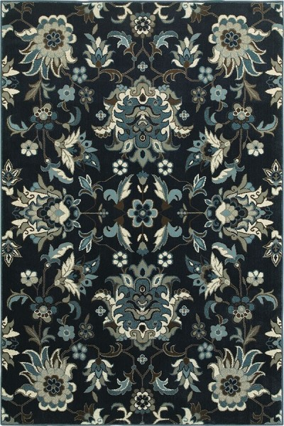 Navy, Blue (B) Traditional / Oriental Area Rug