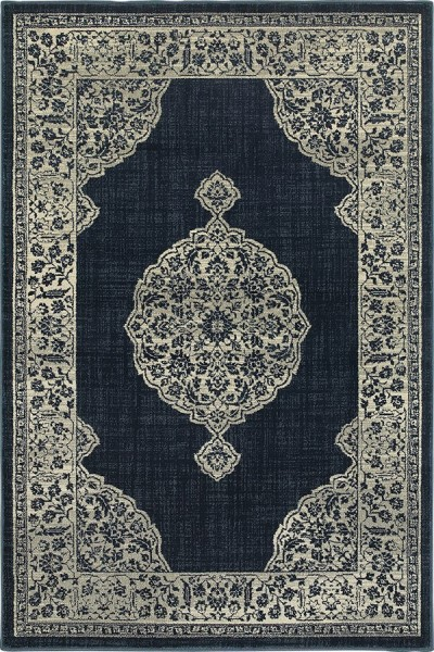 Navy, Grey (A) Traditional / Oriental Area Rug