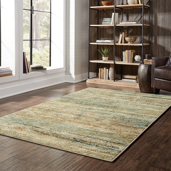 Green, Gold (J) Transitional Area Rug