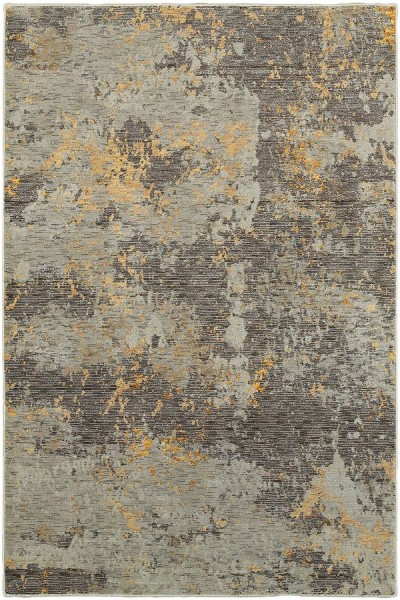 Grey, Gold (B) Abstract Area Rug