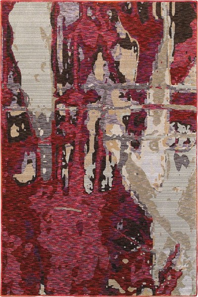 Red, Beige (B) Abstract Area Rug