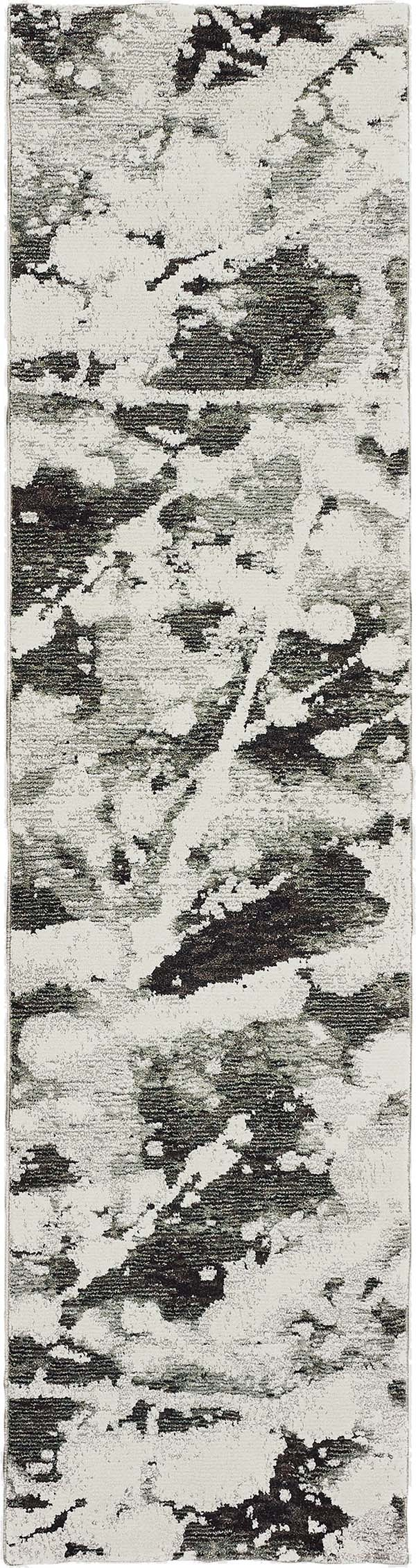 Charcoal, White (B) Abstract Area Rug