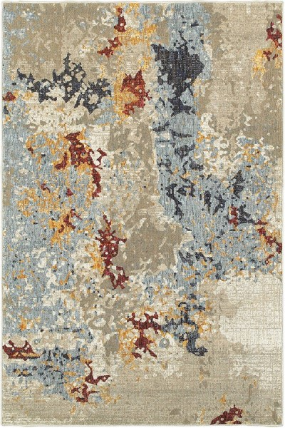 Beige, Blue (K) Abstract Area Rug