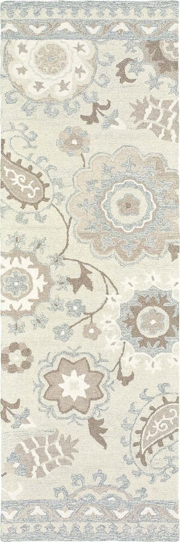 Ivory, Grey Paisley Area Rug