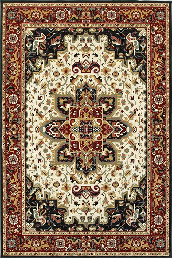 Red, Ivory (W1) Traditional / Oriental Area Rug