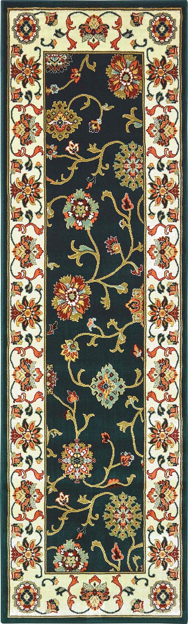 Navy, Ivory (B) Traditional / Oriental Area Rug