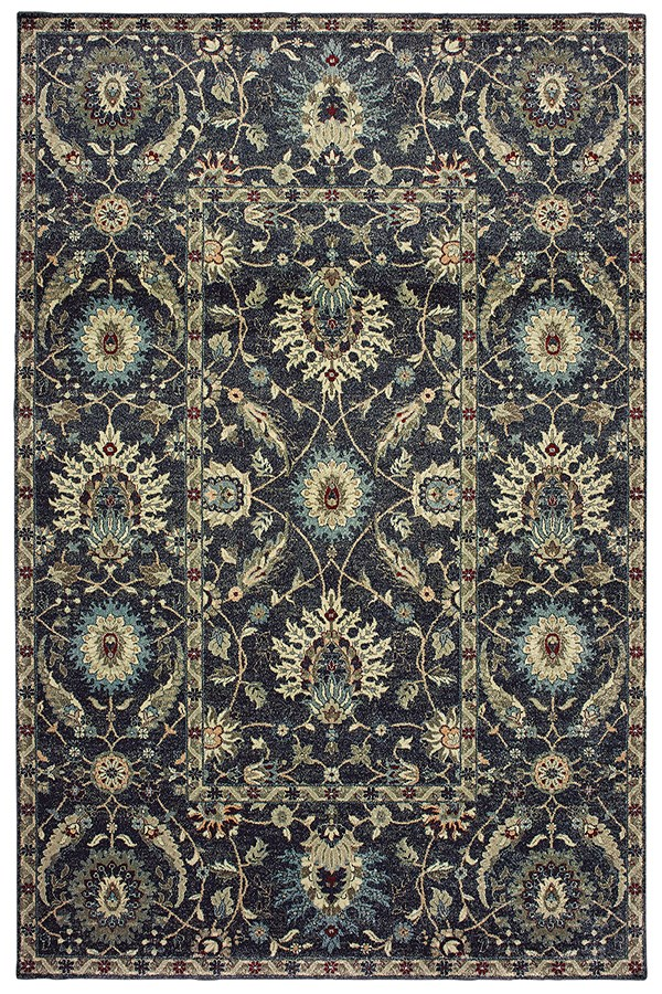 Navy, Ivory (K5) Traditional / Oriental Area Rug