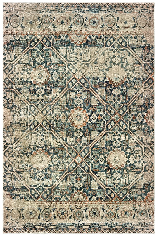 Blue, Ivory (L) Moroccan Area Rug