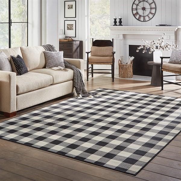 Black, Ivory Outdoor / Indoor Area Rug