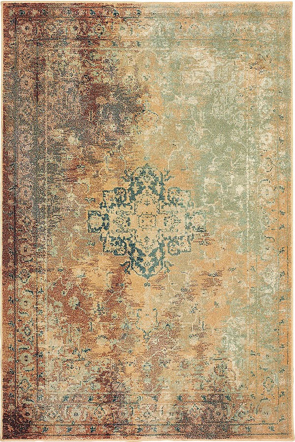 Rust, Gold Vintage / Overdyed Area Rug