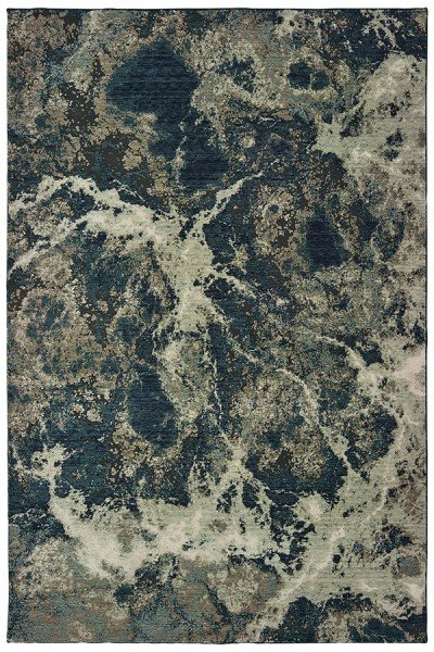 Grey, Blue (P) Abstract Area Rug