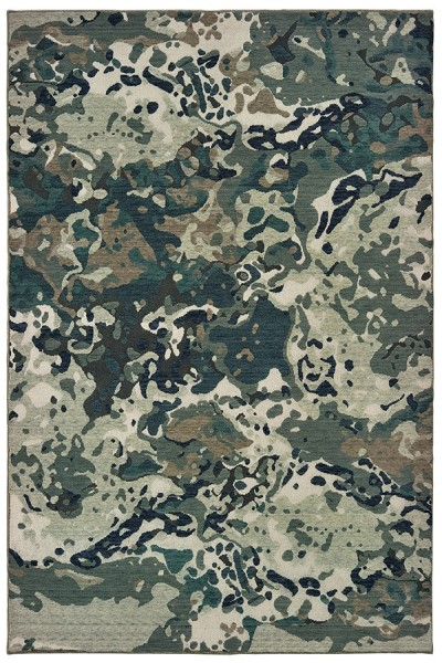Blue, Grey (L) Abstract Area Rug