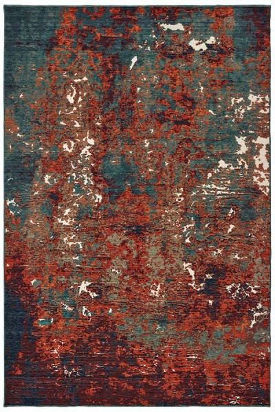 Blue, Red (C) Abstract Area Rug