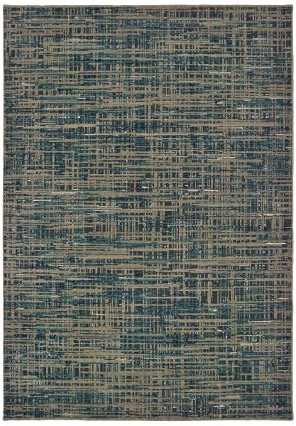 Blue, Grey (D) Contemporary / Modern Area Rug