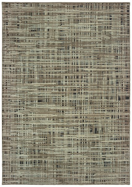 Grey, Green (E) Contemporary / Modern Area Rug
