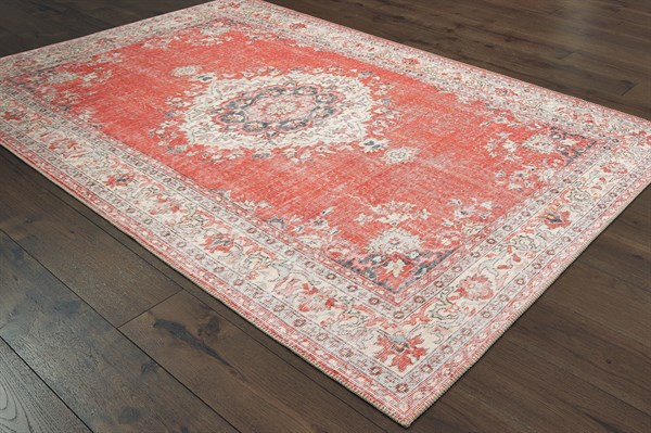 Red, Grey Vintage / Overdyed Area Rug