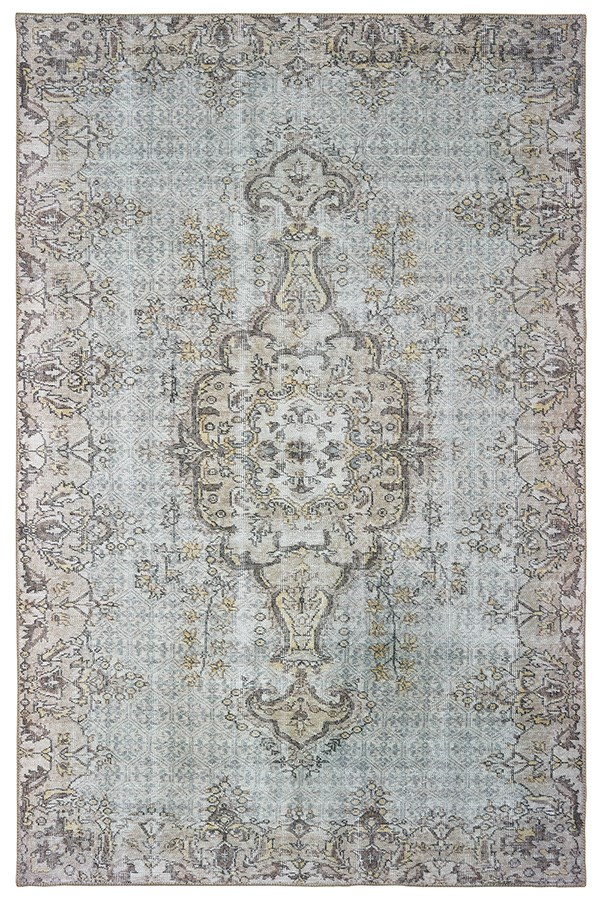 Grey, Gold Vintage / Overdyed Area Rug