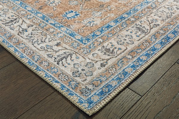 Gold, Blue Vintage / Overdyed Area Rug