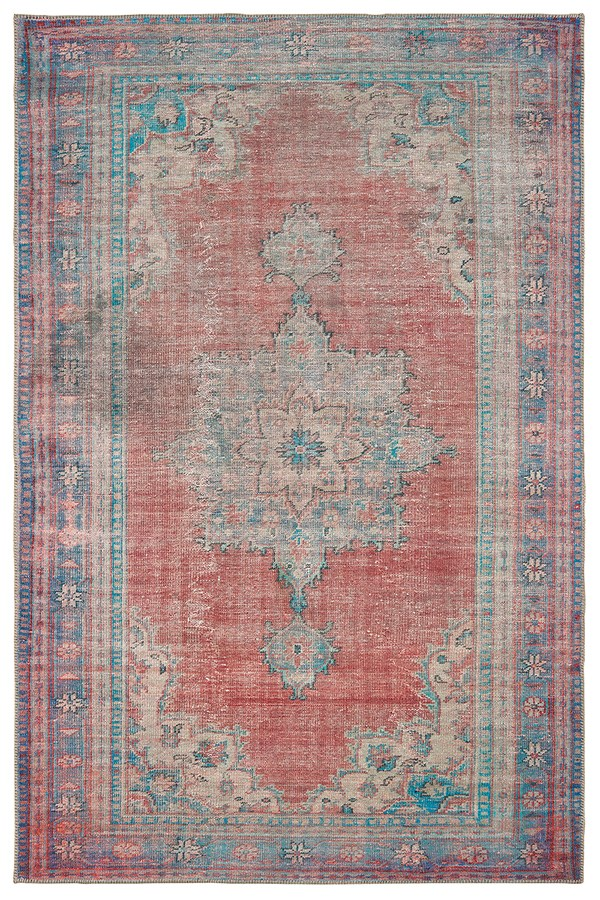 Red, Blue Vintage / Overdyed Area Rug