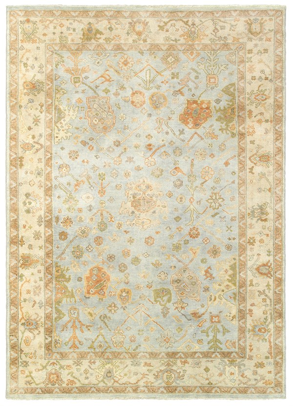 Blue, Sand Traditional / Oriental Area Rug